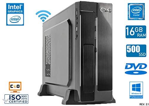 - CeO Gamma V3 - Mini PC Intel J3455 2.30 GHz 2MB Cache | 16GB Ram | 500GB SSD | Grafica Intel HD 500 | HDMI/VGA Full HD | USB 3.0 | Wi-Fi | DVD | WINDOWS 10 PRO