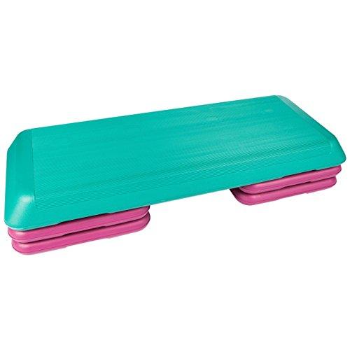 ScSPORTS Aerobic-Fitness-Steppbrett/Stepper/Stepbench, 3-Fach höhenverstellbar, 108 x 40 x 10,5/16/20,5 cm, türkis pink