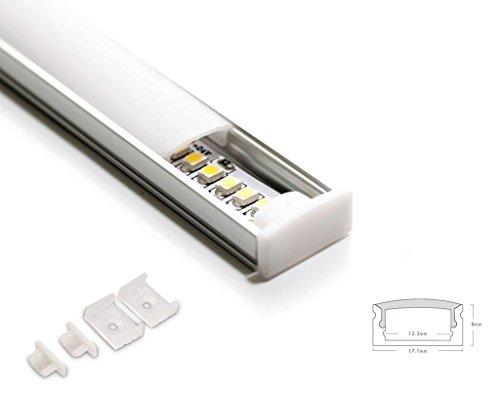 Eurekaled - 1 Profilo in Alluminio U da 2 metri per Strisce LED con Copertura OPACA cod. 1189