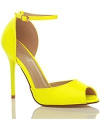 Femmes talon haut aiguille sangle de cheville boucle sandales chaussures peep toe escarpins pointure