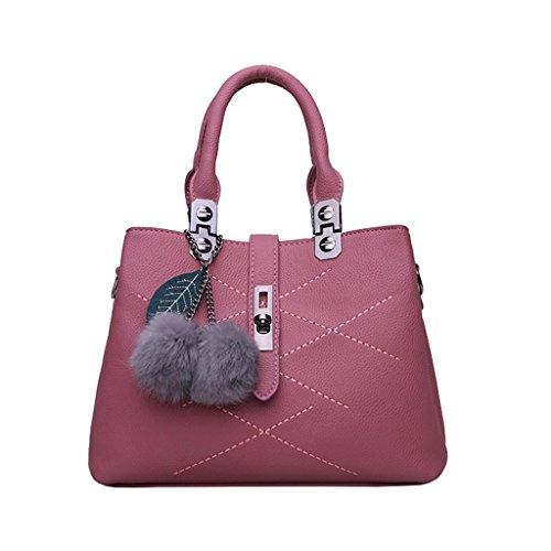 SHOUTIBAO Dame-Handtaschen-Pelz-Kugel-Art- und Weiseinzelner Umhängetasche-Kurier-Beutel-Einkaufen Tägliches mehrfaches Fach, Pink