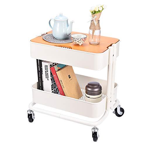 3-stöckiger Rollwagen aus Metall mit Abdeckplatte für Büro, Zuhause, Küche, Organisation 2 Tier- Cream White -