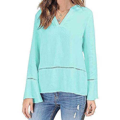 Geili Damen Damen Tshirt, Freizeit V-Ausschnitt Einfarbig Langarmshirt Große Größe Locker Flare Sleeves Bluse Elegant Tops Tunika Oberteil