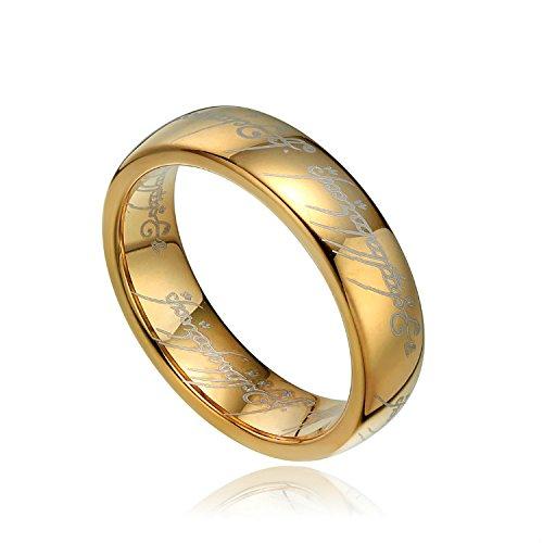 Wolfram Wolframcarbid Herre der Ring Gold fuer Damen und Herren 6 MM, ring_size: 57 (18.1)