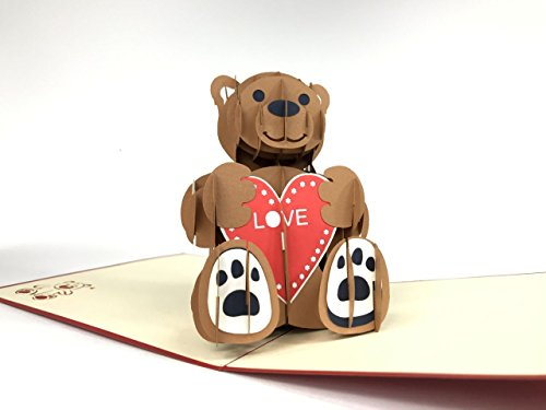 Love Valentine Teddy 3D Pop up Grußkarten Jahrestag Baby Geburtstag Ostern Halloween Mother 's Father 's Day New Home NEW YEAR Thanksgiving Valent