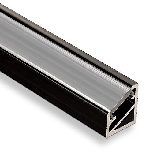 LED Profil-66 Eckprofil schwarz mit opaler Abdeckung 2000 x 14,5 x 16,5 mm von SO-TECH®