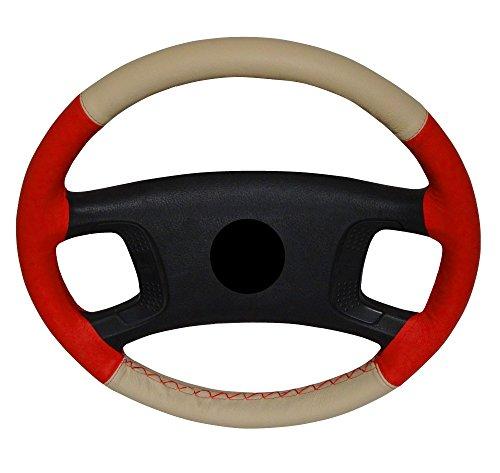 Aerzetix: Cubre volante en cuero piel genuina. Con aguja e hilo. Tamano M. Para diametro 37-40 cm. Cuero: color rojo/beige. Hilo: color rojo.