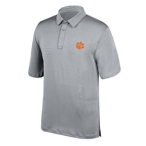 J America NCAA Men's Clemson Tigers Yarn Dye Striped Team Polo Shirt, Small, Cement -