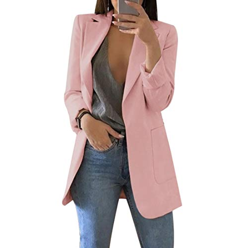 Vertvie Damen Blazer Elegant Cardigan Leicht Dünn Business Büro Jäckchen Einfarbig Casual Mantel Jacke(Pink, EU 40/Tag XL)