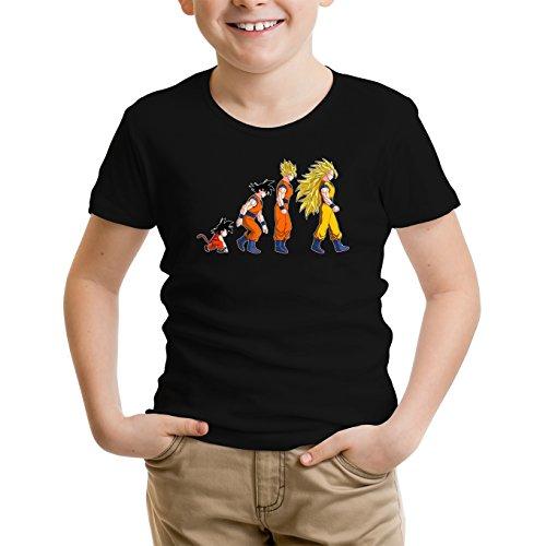 Okiwoki T-Shirt Enfant Noir Dragon Ball Z - DBZ parodique Sangoku Super Saiyajin : La Théorie de l'évolution : (Parodie Dragon Ball Z - DBZ)
