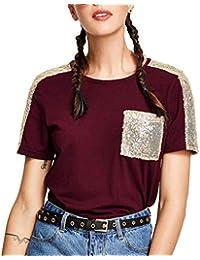 3e384e846 LuckyGirls Camisetas para Mujer Manga Corta Originales Bolsillo con  Lentejuelas Casual Blusa Camisas Top