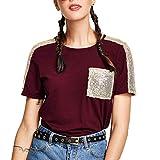 Bestow Bolsillo de Lentejuelas Casual para Mujer Camiseta de Manga Corta con Cuello Redondo Suelto Camiseta de Cuello Redondo Tops(Vino,L)