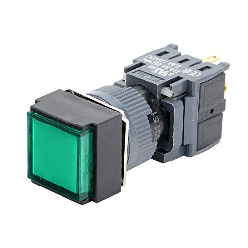 ZCHXD Latching Push Button Switch Square Head 16mm Mounting Dia SPDT 1NO 1NC with 24V Green LED Light