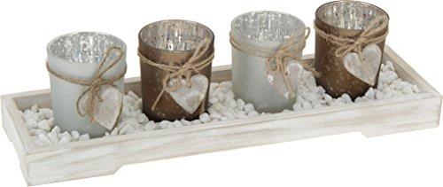 Home & Style 350305 Teelichthalter 4-er Set 4, 7,5 x 5,5 cm, 1 Tablett 32 x 9,5 x 3 cm inklusive Deko Steinchen Im Farbkarton