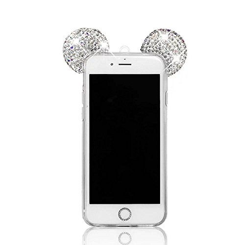 iPhone 8 Plus / iPhone 7 Plus Hülle, MOMDAD Glitzer Cartoon TPU Handyhülle für iPhone 8 Plus / iPhone 7 Plus Schutzhülle Dünnen Glänzend Crystal Kristall Silikon Bling Shining Maus Mouse Ohr Ear Zurüc Kristall Klar
