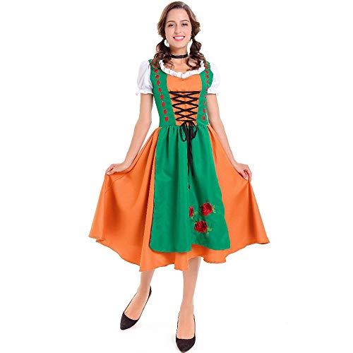 NGHJF Erwachsene Halloween Kostüm Frauen Bayerische Bier Magd Bauer Dirndl Uniformen Oktoberfest Mädchen Kostüm Bluse Schürze Cosplay - Billig Bauern Kostüm