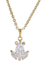 e7ea866a58ee Yazi Lind delicada elegante puede Mujeres de bisutería 18 K oro überzog  circonitas cristal colgante cadena
