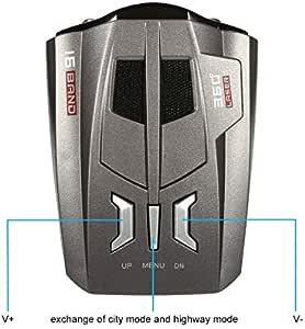 SONGYANG LED Vitesse Radar Voiture 360 /° Automobile Testeur /étanche Anti-Choc Anti-Radar Voiture Compteur de Vitesse//D/étecteur 16 Bandes V/éhicule Disponible en Anglais Russe Autres Langues Double