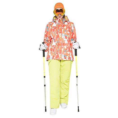 GWELL Damen Skianzug Schneeanzug / Skijacke mit Kapuze + Skihose mit Träger orange XL