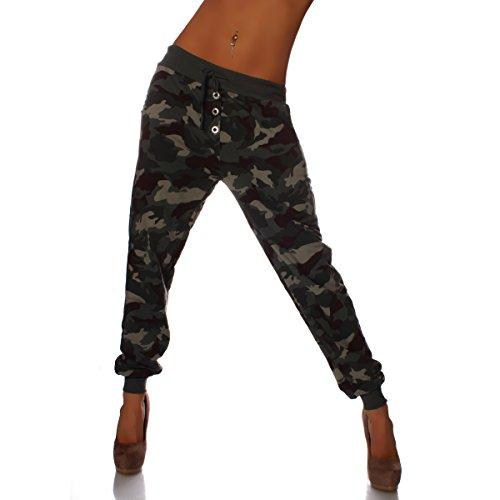8019 damen camouflage boyfriendhose jogginghose baggy hose mit knopfleiste oliv. Black Bedroom Furniture Sets. Home Design Ideas