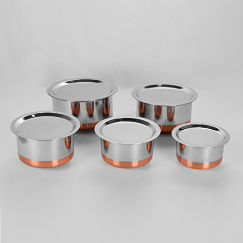 Sumeet Stainless Steel Copper Bottom Cookware/ Container / Tope,Set Of 5 Pcs With Lids