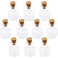 PIXNOR 10pcs vidrio Mini botellas tarros de forma cúbica con corcho deseo Nota arte botella (Claro)