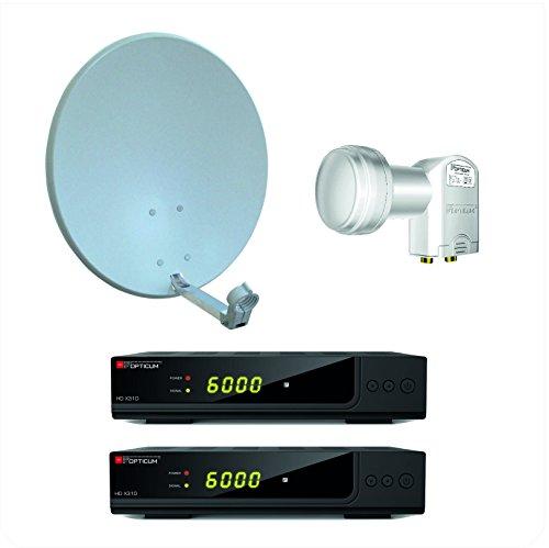 Opticum X310 digitale 2 Teilnehmer HD Anlage (X310 HD DVB-S2 Receiver, Twin LNB - LTP- 04H mit vergoldeten Kontakten, X60 SAT Antenne mit Stahlrücken) lichtgrau (TÜV zertifiziert)