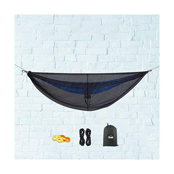LIOOBO 1Set Camping Hammock with Mosquito Net Lightweight Adjustable Net Hammock Bug Hammock Mosquito Hammock for Backpacking Beach LIOOBO Great Gifts: adults, couples, travelers, couples with kids, beachers, campers - everyone says they enjoy it! A great gift for travel, camping, yard You can also quickly store the hammock and parts in the bag quickly. The camping hammock compacts to a backpack friendly, portable size for your convenience. Has built-in ultralight, waterproof compression stuff-sack, with a 2-sided buckle design that wonâ€t drag in the dirt while you hang. 5