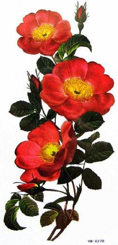 Fiori spestyle impermeabile tatuaggio temporaneo non tossico stickersenlarge impermeabile tatuaggi temporanei colorate e fiori rossi
