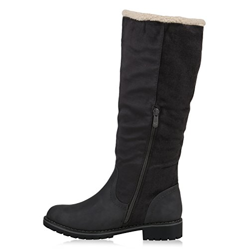 Boot Paradise Caldo Foderato Stivali Donna Inverno Stivali Suede Look Stivali Fibbie Profilo Suola Invernale Scarpe Flandell Grigio Grigio
