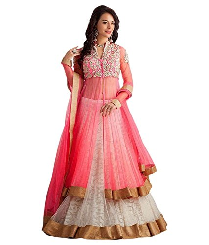 Jay Varudi Creation Women\'s Net Embroidered Pink Free Size Semi-Stiched Lehenga Choli ( pp01_pink_FreeSize )