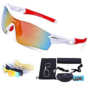 Gafas de Sol Deportivas Polarizadas,Carfia TR90 UV400 Unisex Gafas de Sol Deportivas Polarizadas a prueba de Viento 5 Lentes de Cambios Incluido para Deporte y Aire Libre Ciclismo Conducción Pesca Esquiar Golf Correr F