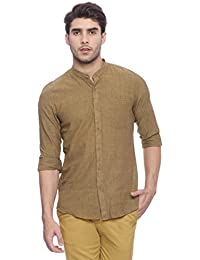 Turtle Men's Light Brown Hand Woven Slim Fit Casual Shirt