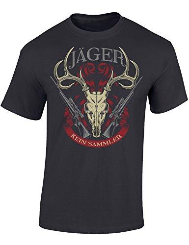 Baddery Jäger T-Shirt: Jäger Kein Sammler - Geschenkidee für Jäger - Geschenke - Jägerbekleidung (XXL)