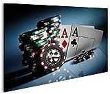 islandburner Bild Bilder auf Leinwand Aces Poker Casino Spielhalle Kartenspiel 1p XXL Poster Leinwandbild Wandbilder Dekoartikel Wohnzimmer Marke