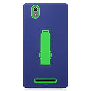 Eagle Cell Hybrid Armor Protective Case with Stand for ZTE Zmax Z970 - Retail Packaging - ZZ0 Green/Blue