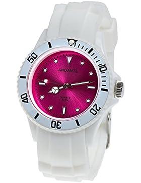 Andante Sportliche Wasserdichte Unisex Armbanduhr Silikon Uhr Quarz 3ATM Weiß Rosa AS-5003