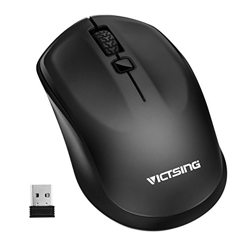 VicTsing 2.4G Wireless Portable Maus, symmetrisches Design die beide Hand, Ergonomische High Precision Optical Mouse, 3 einstellbare DPI-Werte für PC, Laptop, Notebook, Computer, Macbook - Schwarz (Drei-tasten-anzug Leichtes)