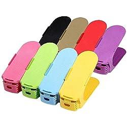 8Pcs Support pour empiler les chaussures réglable – Set économique pour chaussures Plastique économie d'espace à chaussures (multicolore)