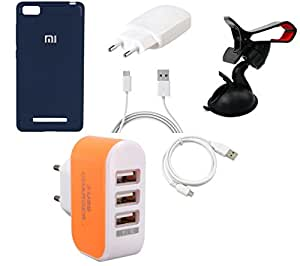 NIROSHA Cover Case Charger USB Cable Mobile Holder for Xiaomi Mi 4i - Combo
