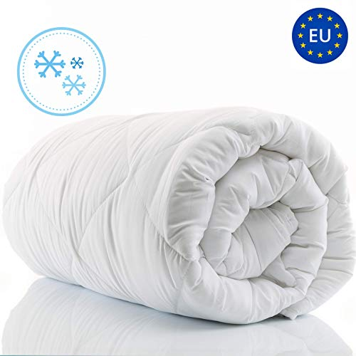 Amazinggirl Bettdecke 140 x 200 winterdecke Steppdecken Schlafdecke - Winterbettdecke warm für Allergiker Steppbettdecke weiß hypoallergen aus Microfaser