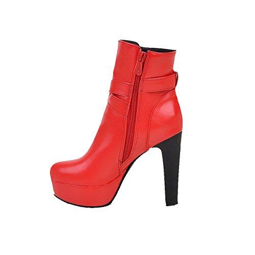 AgooLar Damen Niedriger Absatz Blend-Materialien Oberschenkel Hohe Gemischte Farbe Stiefel, Weinrot, 36