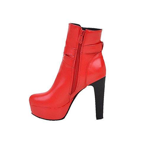 Odomolor Damen Reißverschluss Pu Leder Hoher Absatz Rein Stiefel Rot