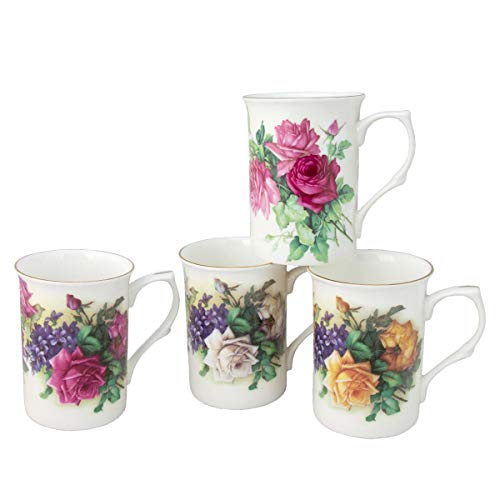 Gracie Bone China Classic English Garden Rose 10-Ounce Mug with Gold Trim, Assorted Set of 4 by Gracie Bone China by Coastline Imports - Set Gold Trim