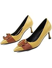 ZHUDJ L'Été Sandales Princesse Sac Avec Boucle Ronde Creux Chaussures, Chaussures Dames Tous-Match Vent Jeune Noir Et Rose Beige,Noir,38
