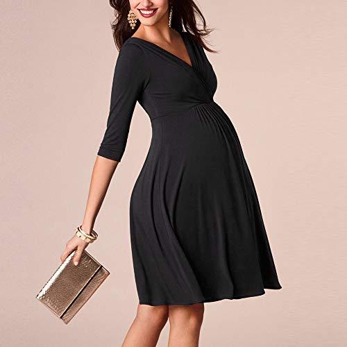 Schwarzes Schwangerschaftskleid A Linie Wickelkleid elegant knielang 3/4 Arm