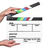 flexzion Regisseur 23.006Film Movie Klappen Acryl-Kunststoff Dry Erase Stadio Kamera TV Video Cut Action Szene Schieferplatte 25,4x 30,5cm mit Sticks White with Colorful sticks