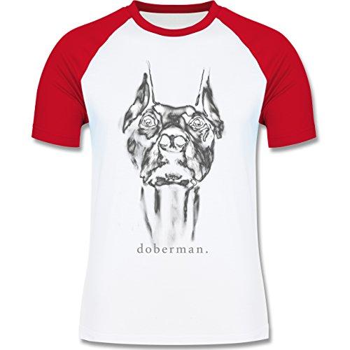 Shirtracer Hunde - Doberman - L - Weiß/Rot - L140 - Herren Baseball Shirt (T-shirt Weiße Neue Mops)