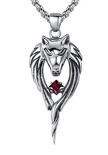 Stainless Steel Men's Tribal Wolf W. Red Cubic Zirconia Pendant Necklace, Round Link Chain - G2096QY5