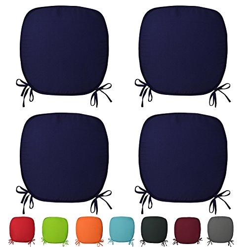 Beautissu® 4er Set Stuhl-Kissen Lara - 38x38x1,5cm Dunkelblau( Blau) - Sitz-Auflage - Deko-Polster für Wohnung & Garten
